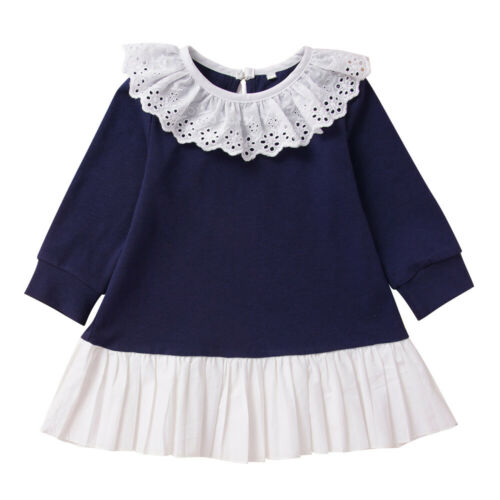 Kids Baby Girls Long Sleeve Flouncing Solid Patchwork Dress Party Casual Tutu SP