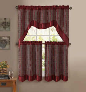 Burgundy 3 pc kitchen window curtain set double layer 2 for 3 window curtain design