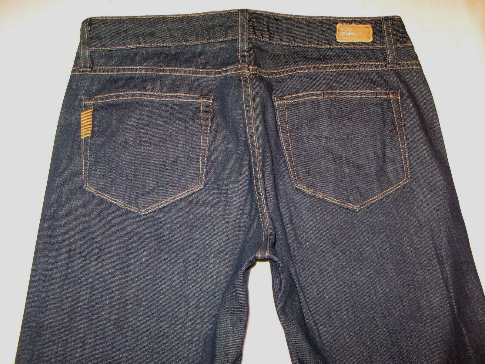 Paige Bentley Flare Jeans Sz 27 Dark bluee Light Denim w Stretch L 31.75