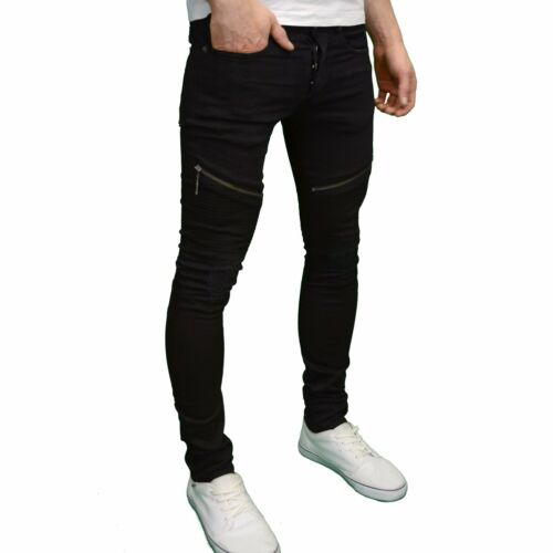 Seven Series Mens Designer Stretch Skinny Fit Biker Rip Panel Detail Jeans BNWT