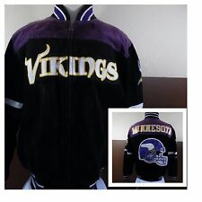 VTG G-III NFL Minnesota Vikings Suede Leather Jacket Lettermans Black/Purple XL