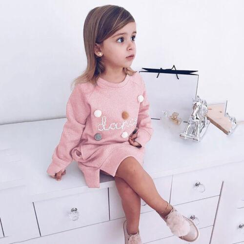 Children Toddler Kids Baby Girl Letter Pullover Sweatshirt Dress Outfits