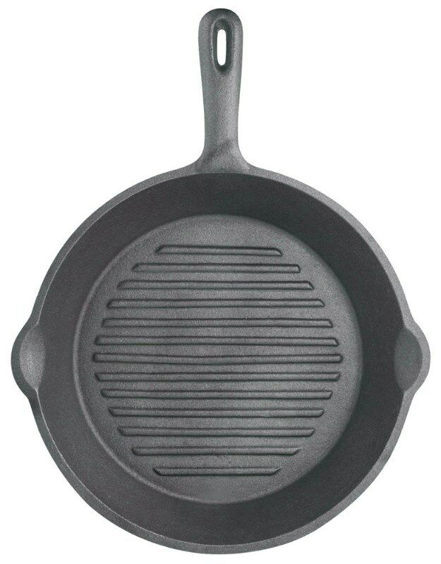 Kitchen Craft Cast Iron Round Grill Pan - With Ribbed Base - 24cm