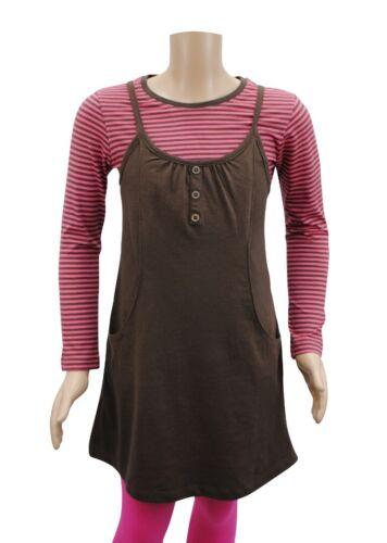 Girls Zara Jersey Dress Top Brown Pink Stripes Age 5 to 6 Years