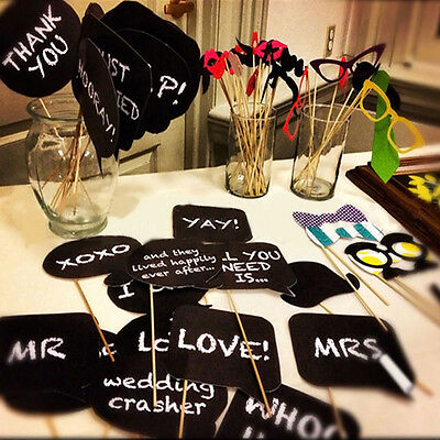 10 Pcs DIY Photo Booth Prop Wedding Birthday Party Black Card Chalkboard Stick