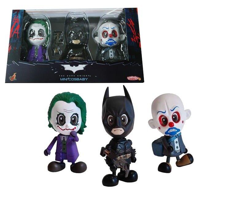 Hot Toys Batman Joker Cosbaby Dark Knight Mini Figure Set of 3 Toy Gift