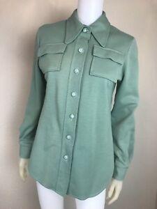 Women-039-s-Vintage-1970-039-s-Sage-Green-Button-Down-Shirt-Size-M-L-Pre-Owned