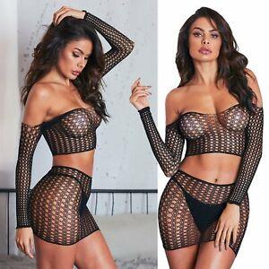 CROP TOP Skirt SET Round Hole FISHNET Long Sleeve CROCHET Net BODYSTOCKING sz 6