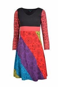 serale stampa Abito a cotone in lunghe donna da multicolore maniche qz4wR8UWq
