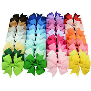 """Girls 3"""""""" Bow Clip Hairpins Grosgrain Ribbon"""
