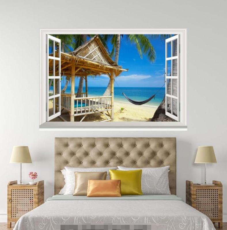 3D Pavilion Beach 502 Open Windows Mural Wall Print Decal Deco AJ Wallpaper Ivy