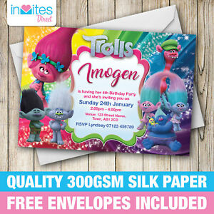 Image Is Loading Personalised Trolls Birthday Party Invitations Invites With FREE