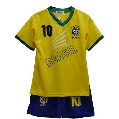 2018 Football Summer Shorts Boys Brazil Girls Top Kit Set Size Age 4-14 Years