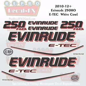 2010+ Evinrude 250HO E-TEC WC Outboard 14Pc Decals for White