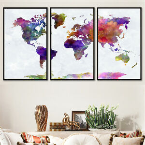 Details About Set 3 Abstract Art Canvas Print Watercolor World Map Paint Poster Unframed P05