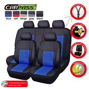 Universal-Car-Seat-Covers-Protector-Leather-Blue-Split-Rear-Airbag-Compatible