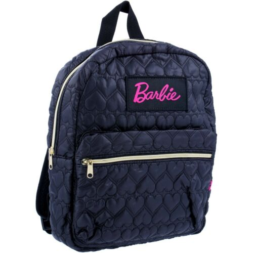 Licensed Kids Barbie Quilted Heart Print Style Girls Backpack Black Small Gift