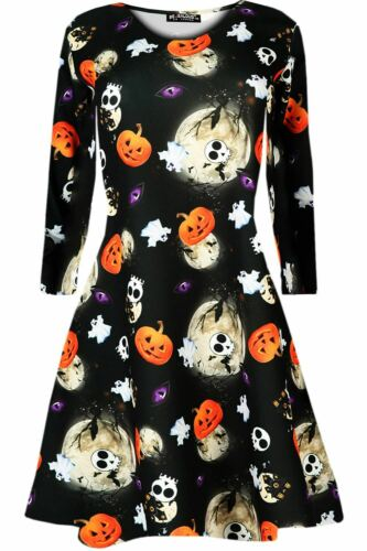 New Girls Halloween Skull Long Sleeve Cat Bat Spider Printed Party Swing Dress