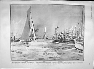 Original-Old-Antique-Print-1903-Yacht-Race-America-Cup-Shamrock-Reliance-Sport