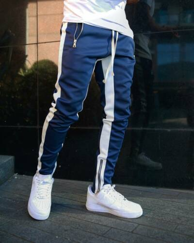 Men/'s Gym Workout Stripe Jogger Pants Slim Fit Tapered Sweatpants Zipper Pockets