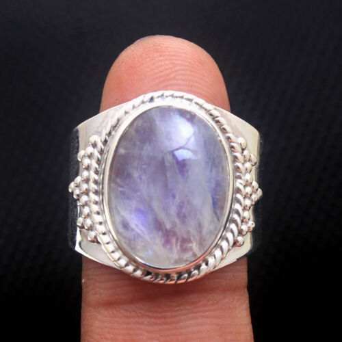Handmade Moonstone Gemstone 925 Sterling Silver Jewelry Solid Ring Taille 9 US