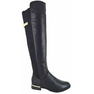 WOMENS LADIES STRETCH OVER THE KNEE BOOTS LOW HEEL GOLD TRIM ZIP BOOT SHOE SIZE