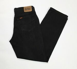 Rifle-jeans-uomo-usato-9380-gamba-dritta-W34-tg-48-denim-boyfriend-nero-T3034