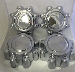 1999-2005-FORD-EXCURSION-F250-F350-2WD-CHROME-Front-Center-Cap-SET-of-4-NEW