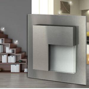 led treppen beleuchtung edelstahl 230v wandleuchte einbau stufen 1 30x belluno ebay. Black Bedroom Furniture Sets. Home Design Ideas