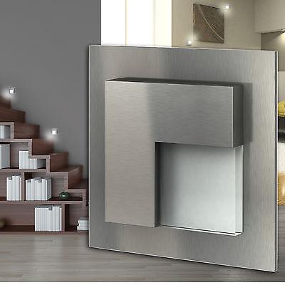 1-30x BELLUNO LED Edelstahl 230V Wandleuchte Einbau Stufen Treppen Beleuchtung