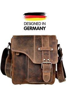 Herren Handtasche Büffel Ledertasche Schultertasche Vintage Braun Leder Bag NEU