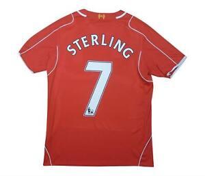Liverpool 2014-15 ORIGINALE Maglietta Sterling #7 (eccellente) M SOCCER JERSEY