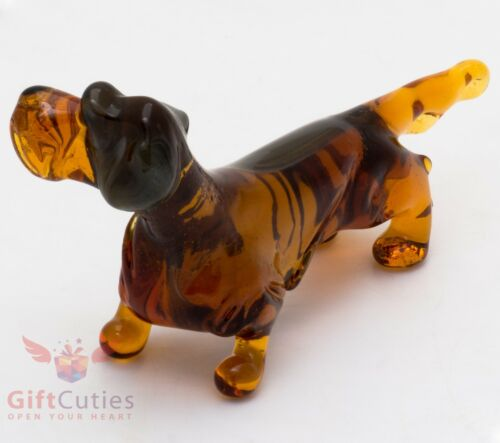 Art Blown Glass Figurine of the wire-haired Dachshund dog