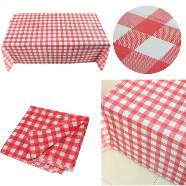 Gingham Plastic Temporary Disposable Check Table Cover Cloth Outdoor - Outdoor picnic table covers