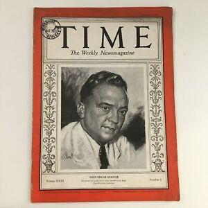 Time Magazine August 5 1935 Vol 26 #6 FBI First Director John Edgar Hoover