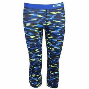 NIKE-Pro-Graphic-Capri-Fitness-Tights-Workout-Pants-Dri-Fit-Size-8-amp-14-Royal