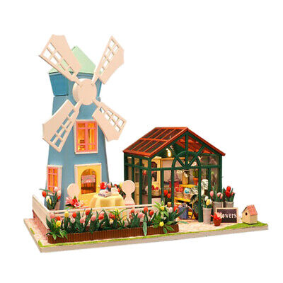 LED Light Windmill Greenhouse DIY Wood Dollhouse Miniature Kit w// Furniture