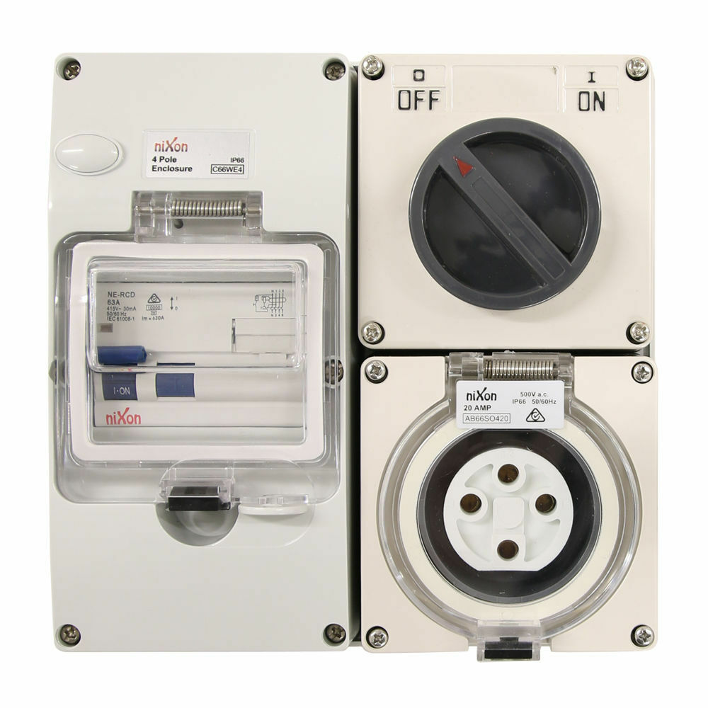 4 pin 20 Amp RCD Protected - Switched Socket Outlet RCD COMBO IP66 ...