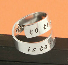 To Travel Is to Live Wrap Ring Adjustable Twist Aluminum Ring Handstamped Ring