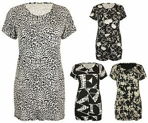 Womens-Printed-Pattern-Ladies-Short-Sleeve-Stretch-Long-T-Shirt-Top-Plus-Size