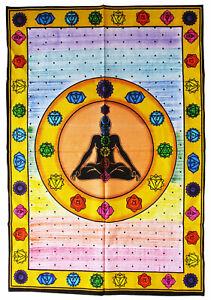 CHAKRA-Wandbehang-110x75-cm-Dekotuch-INDIEN-Tantra-Astralleib-Esoterik-Chakren