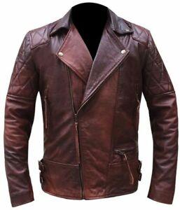 New-Mens-Biker-Motorcycle-Vintage-Distressed-Brown-Leather-Jacket-Bomber-Antique