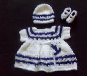 d47536c9698 crochet white Sailor baby girl dress Hat and mary janes handmade 3-6 ...