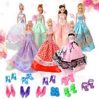 5 Pack Fashion Wedding Gown Dresses & Clothes 10 Shoes For Barbie Doll