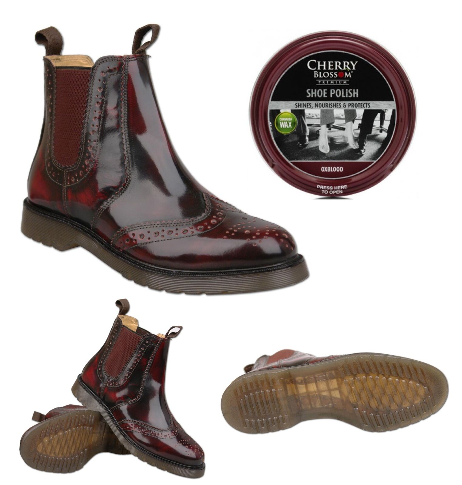 Mens New Oxblood Leather Brogue Stiefel   Optional Polish UK Größe 6 7 8 9 10 11 12