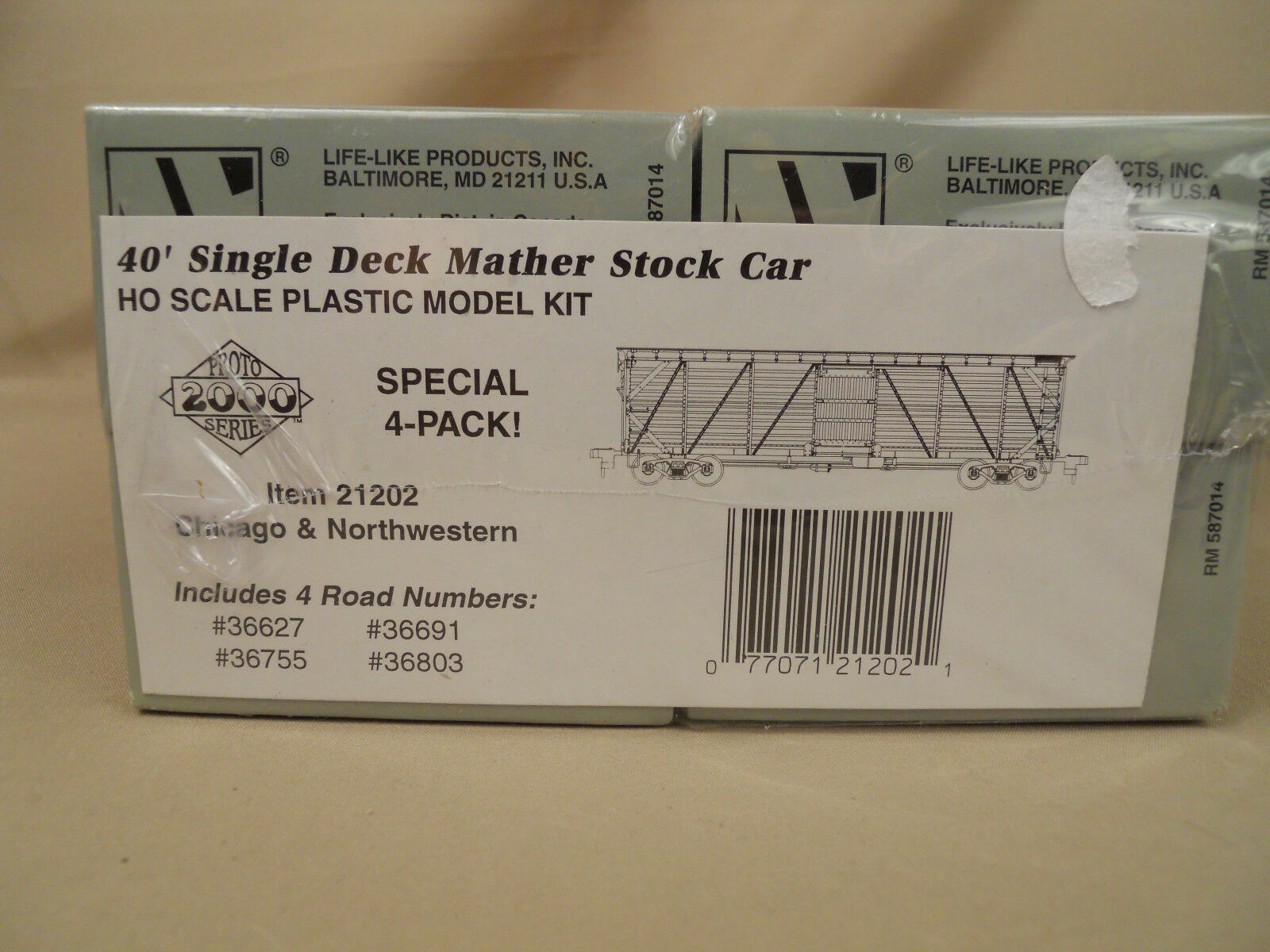 Ho Prossoo 2000 c&nw Mather 40' de deck individual Stock Car (4-pack) Kit