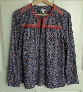 J-Crew-Womens-Blue-Pink-Paisley-Printed-Peasant-Top-Shirt-Blouse-Size-Small