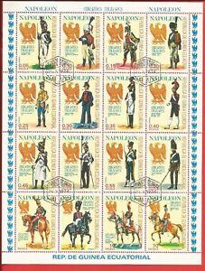 Briefmarken Napoleonische Militäruniformen #1181-1196 Zusammendruckbogen V Äquatorialguinea Professionelles Design Afrika