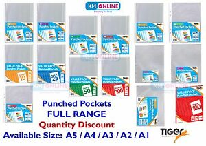 Details about PUNCHED POCKET A1 A2 A3 A4 A5 WALLETS CLEAR MULTI PUNCH  SLEEVE FILING TIGER RANG