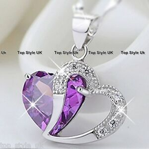 S925-Sterling-Silver-Amethyst-Purple-Heart-Crystal-Necklace-Pendant-Gift-Present